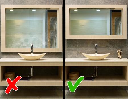 آینه کوچک در دکوراسیون حمام و دستشویی