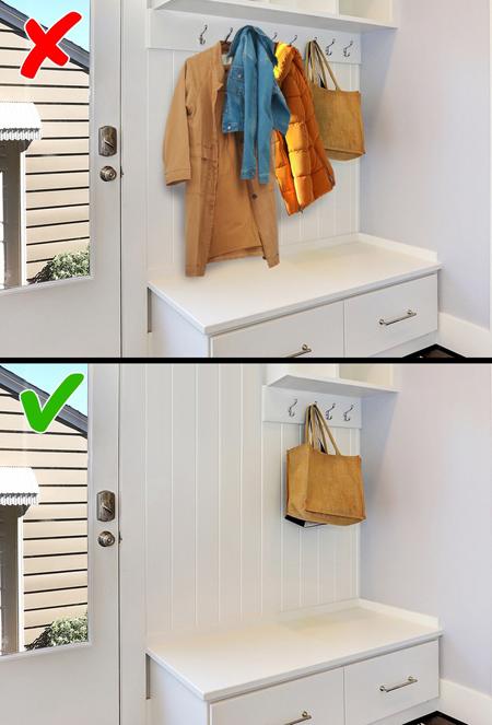 چیدمان چوب لباسی سالن راه هایی برای جلوگیری از بهم ریختگی در فضای منزل