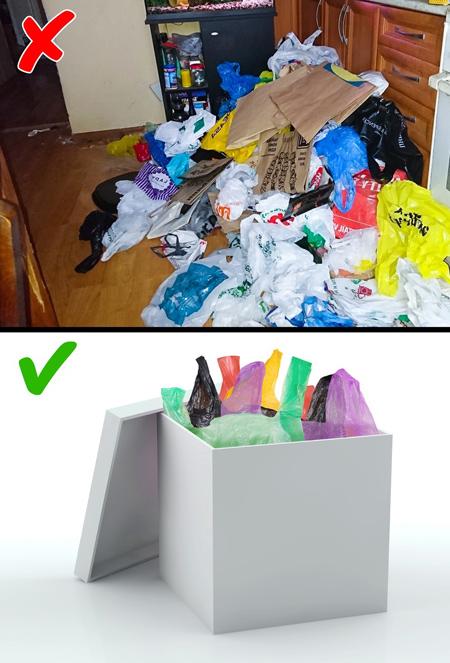 مرتب کردن پلاستیکها در جعبه راه هایی برای جلوگیری از بهم ریختگی در فضای منزل